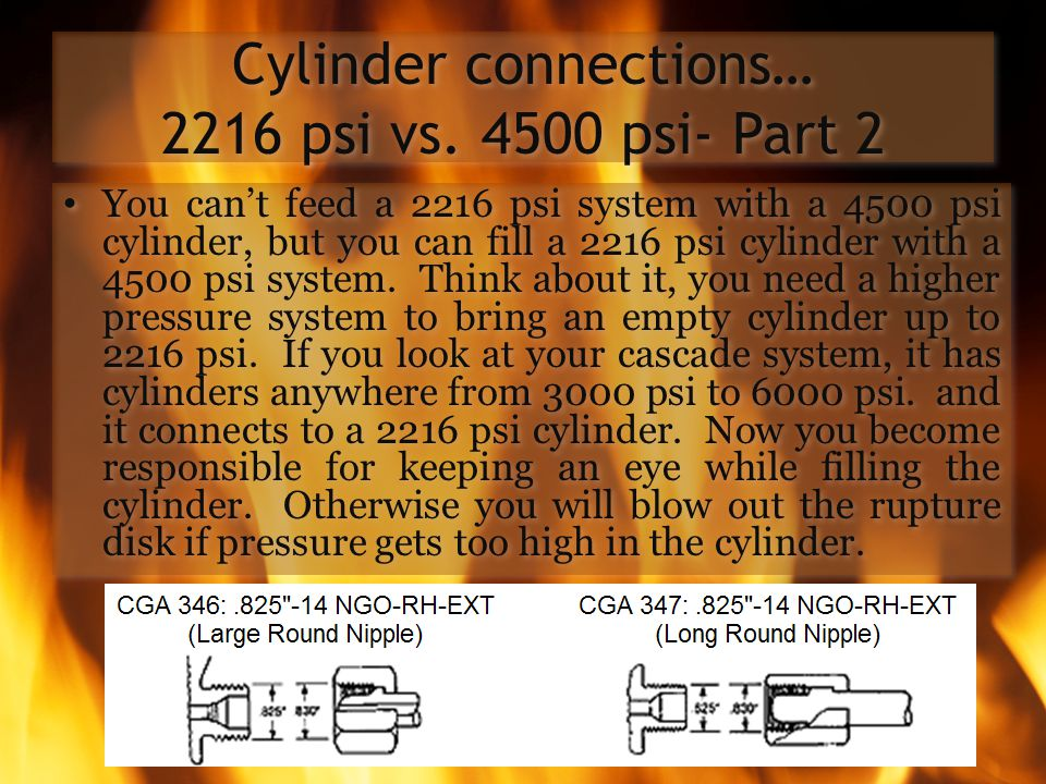 Cylinder connections… 2216 psi vs. 4500 psi- Part 2