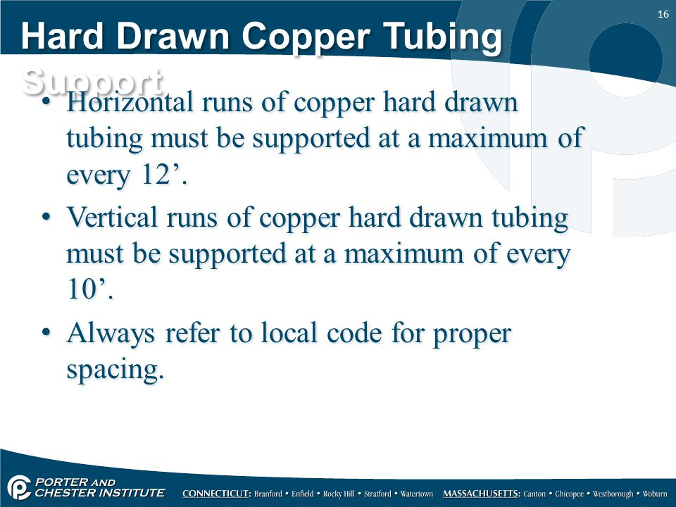 Hard Drawn Copper Tubing Support