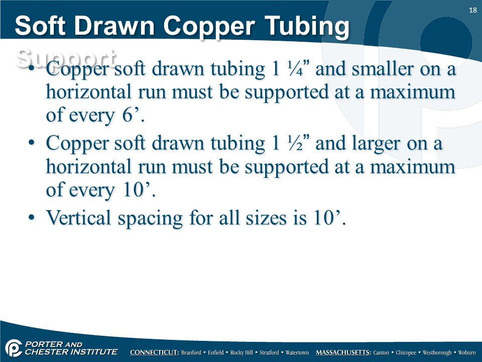 Soft Drawn Copper Tubing Support