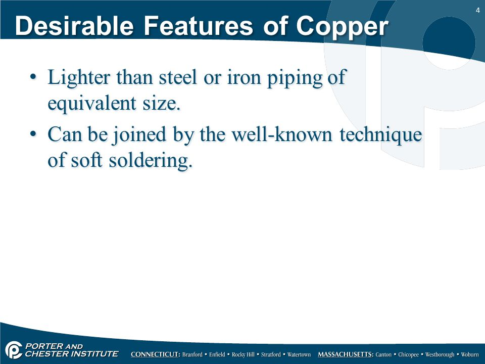 Desirable Features of Copper