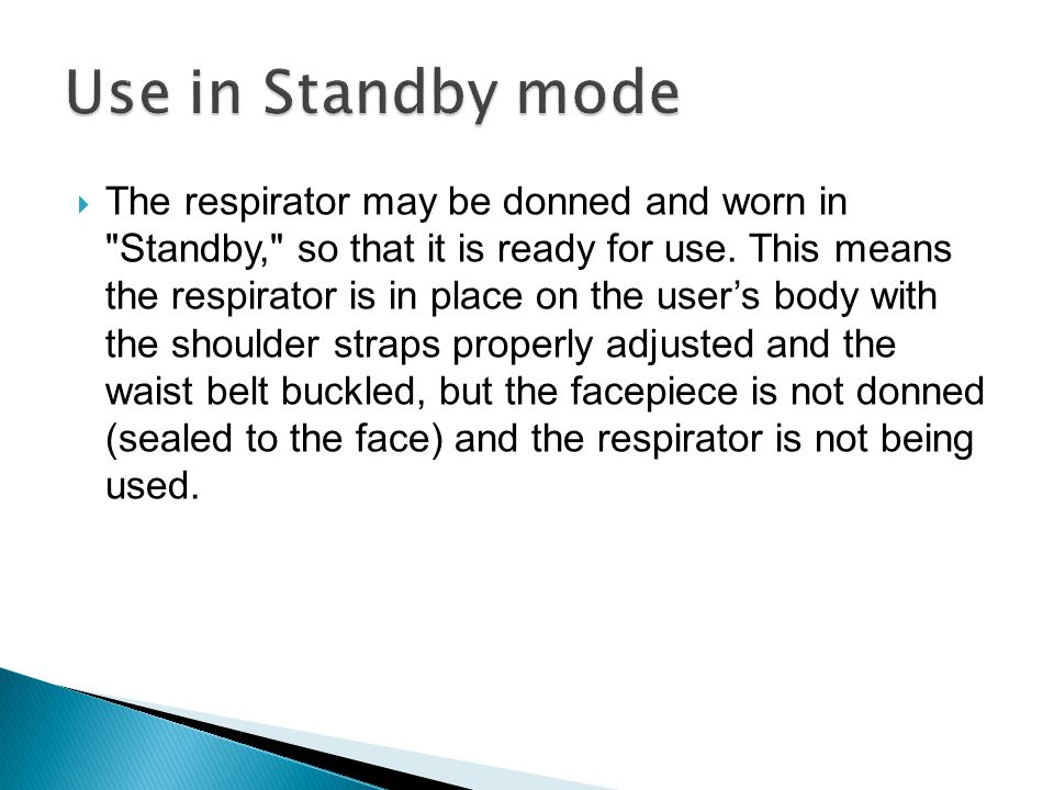 Use in Standby mode