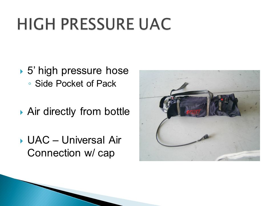HIGH PRESSURE UAC 5' high pressure hose Air directly from bottle