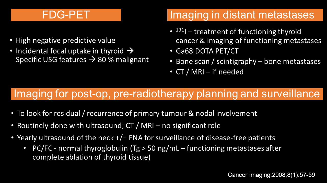 Imaging for post-op, pre-radiotherapy planning and surveillance