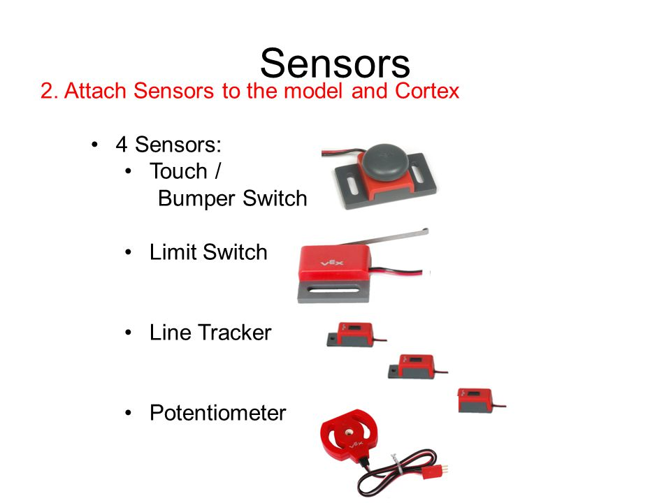 Sensors 2. Attach Sensors to the model and Cortex 4 Sensors: Touch /