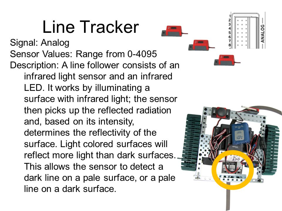 Line Tracker Signal: Analog Sensor Values: Range from 0-4095
