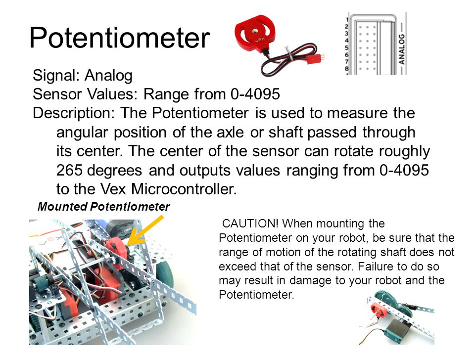 Potentiometer Signal: Analog Sensor Values: Range from 0-4095