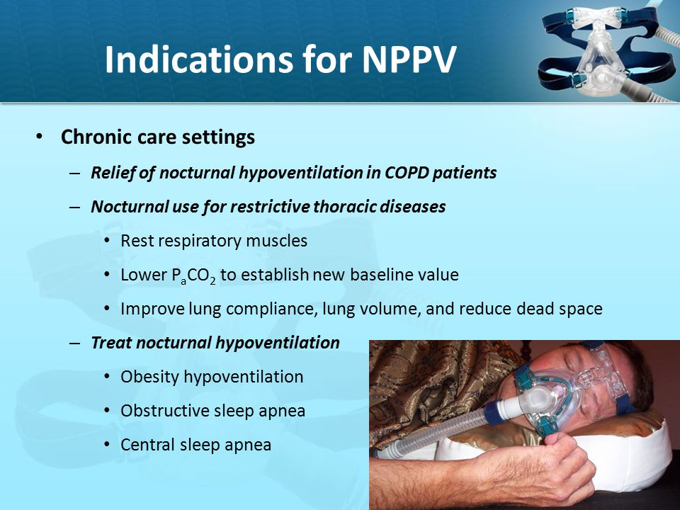 Indications for NPPV Chronic care settings