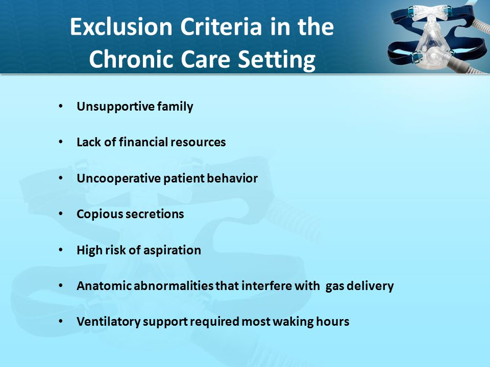 Exclusion Criteria in the Chronic Care Setting