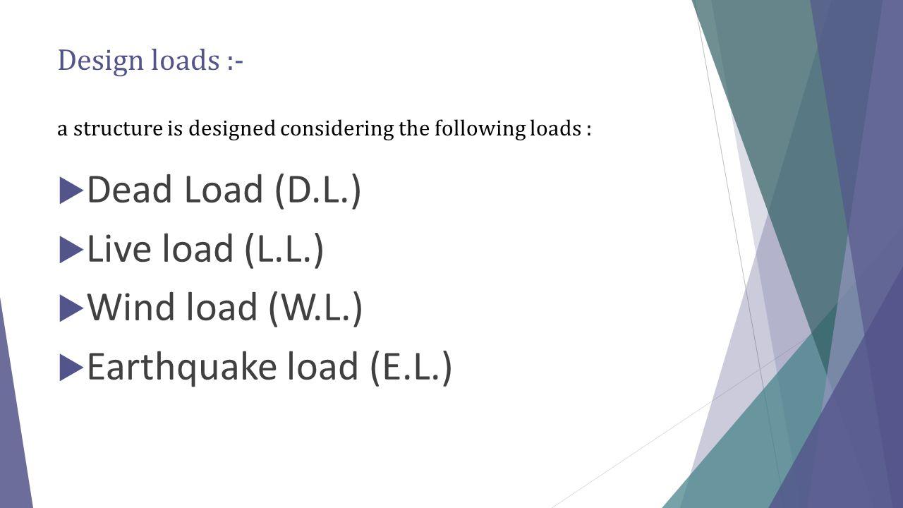Dead Load (D.L.) Live load (L.L.) Wind load (W.L.)