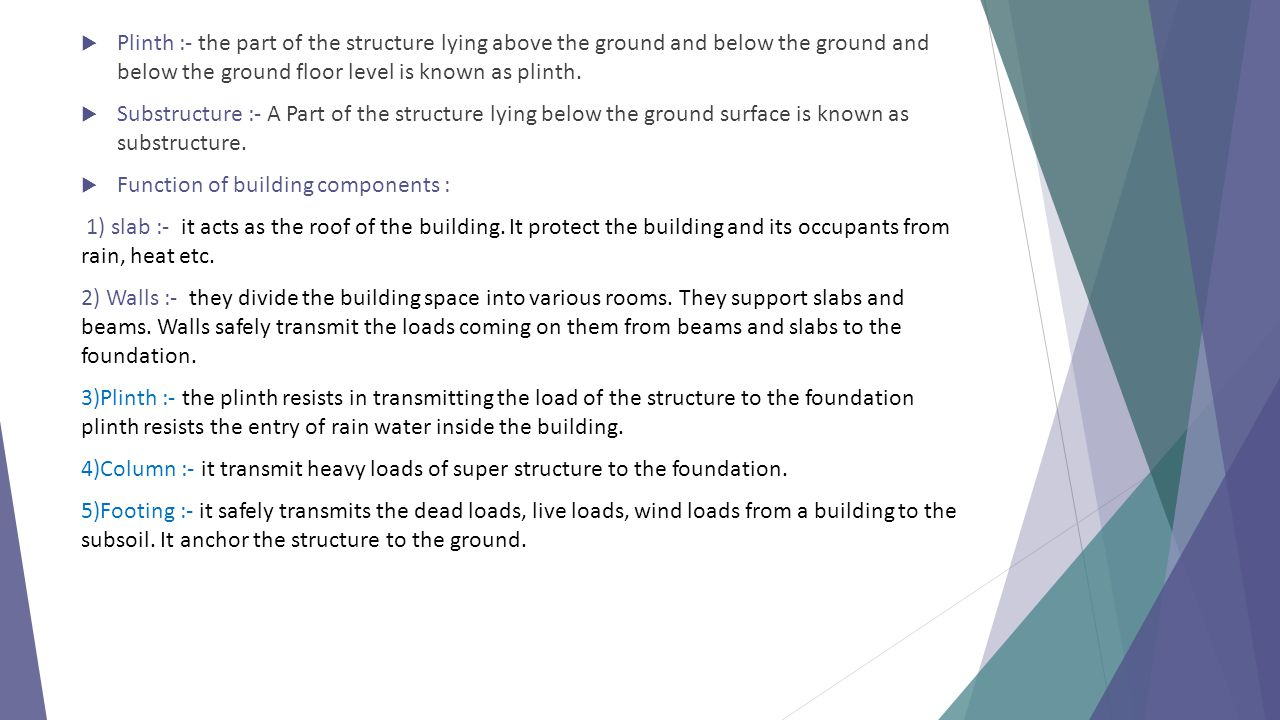 Plinth :- the part of the structure lying above the ground and below the ground and below the ground floor level is known as plinth.