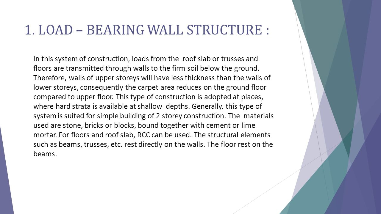 1. LOAD – BEARING WALL STRUCTURE :