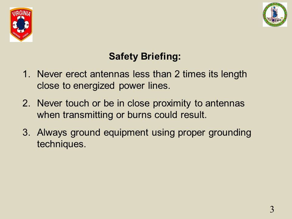 Safety Briefing: Never erect antennas less than 2 times its length close to energized power lines.