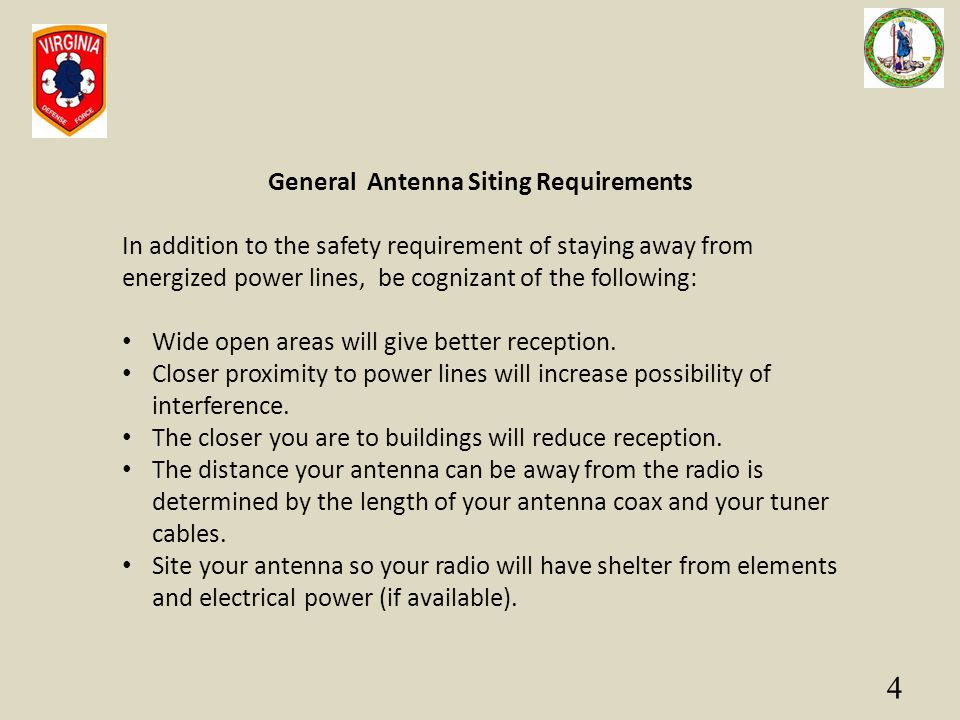 General Antenna Siting Requirements