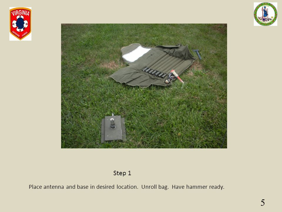 Step 1 Place antenna and base in desired location. Unroll bag. Have hammer ready.