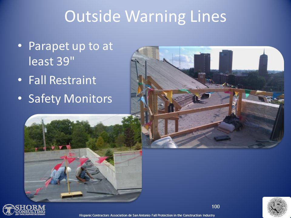 Outside Warning Lines Parapet up to at least 39 Fall Restraint