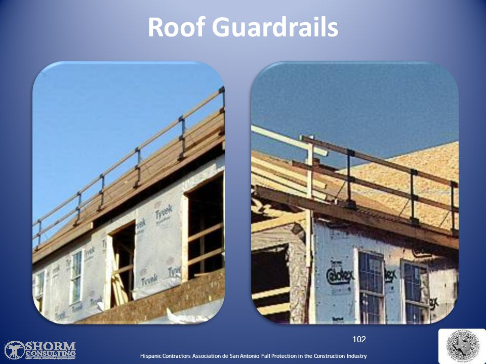 Roof Guardrails Hispanic Contractors Association de SA. Fall Protection SH-22298-11-60-F-48.