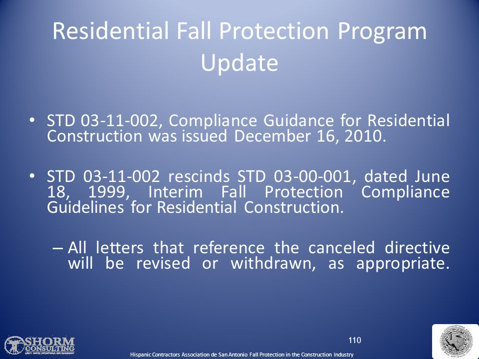 Residential Fall Protection Program Update