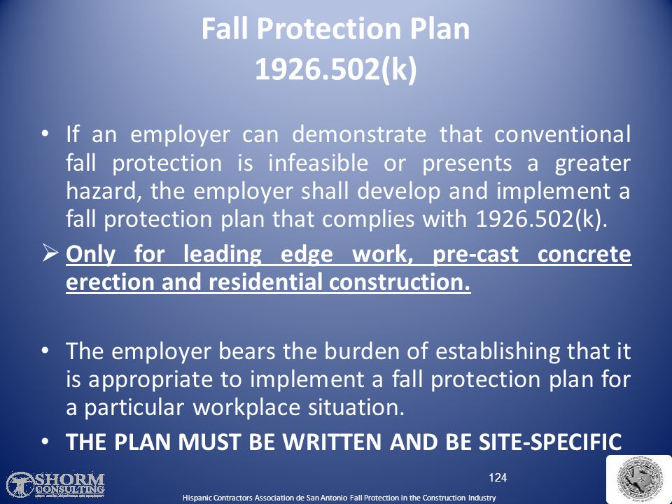 Fall Protection Plan 1926.502(k)