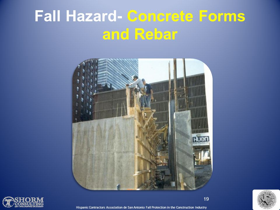Fall Hazard- Concrete Forms and Rebar