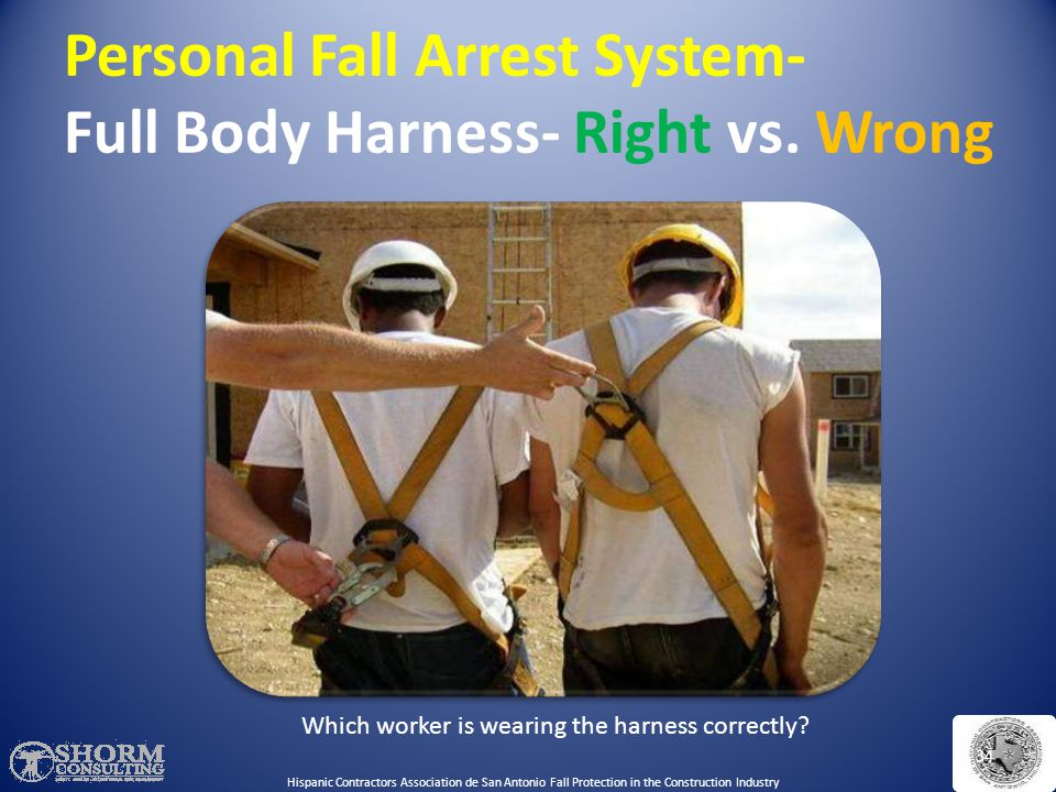 Personal Fall Arrest System- Full Body Harness- Right vs. Wrong