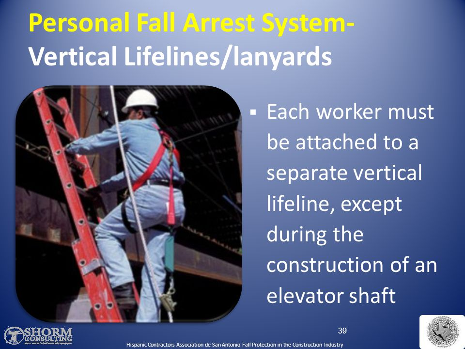 Personal Fall Arrest System- Vertical Lifelines/lanyards
