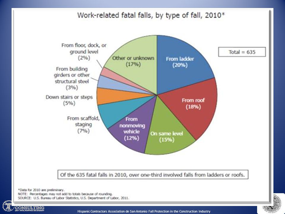 Discuss the total number of work-related fatal falls for 2010.