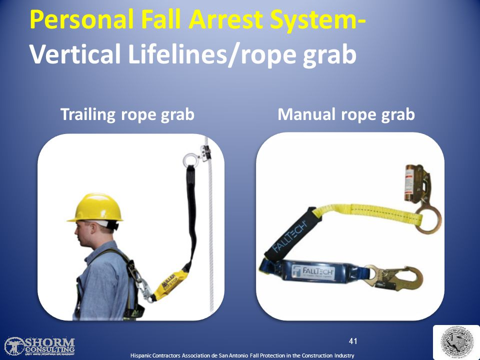 Personal Fall Arrest System- Vertical Lifelines/rope grab