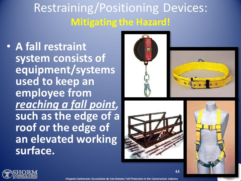 Restraining/Positioning Devices: Mitigating the Hazard!