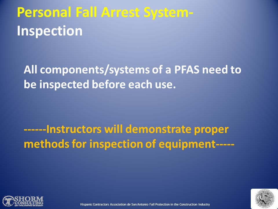 Personal Fall Arrest System- Inspection