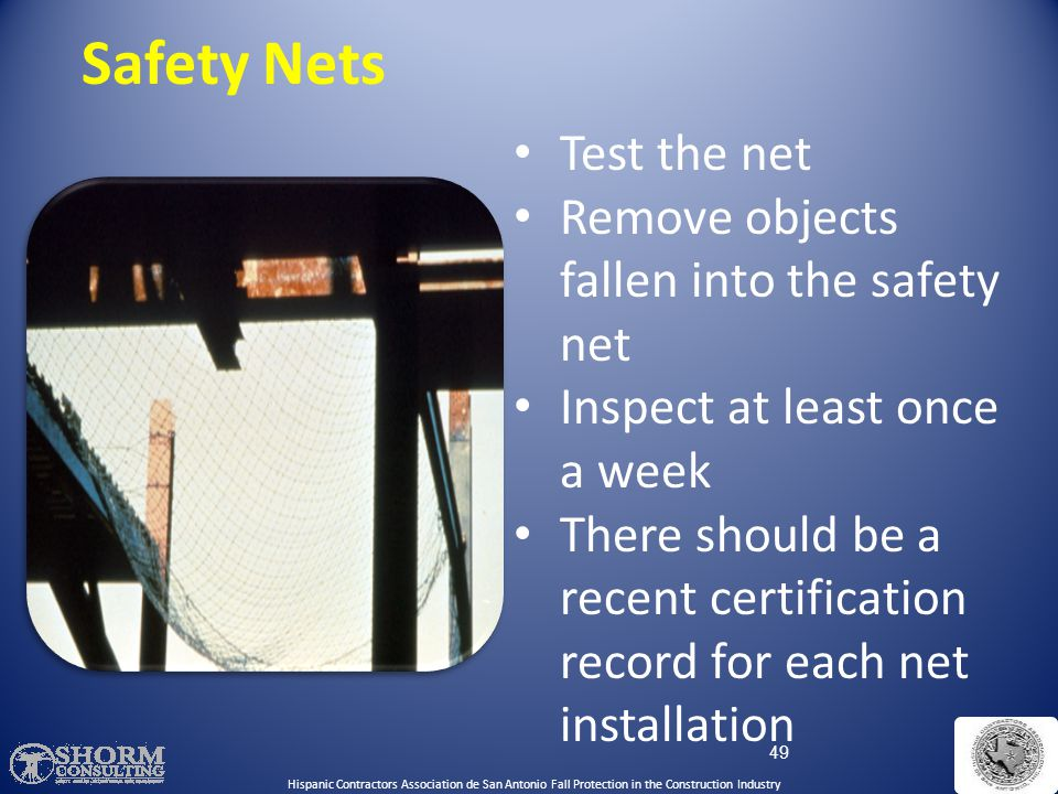 Safety Nets Test the net Remove objects fallen into the safety net
