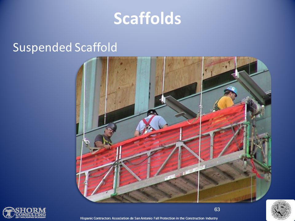 Scaffolds Suspended Scaffold A suspended scaffold.