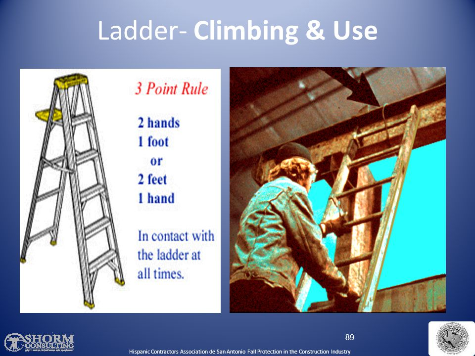 Ladder- Climbing & Use Use both hands to climb a ladder