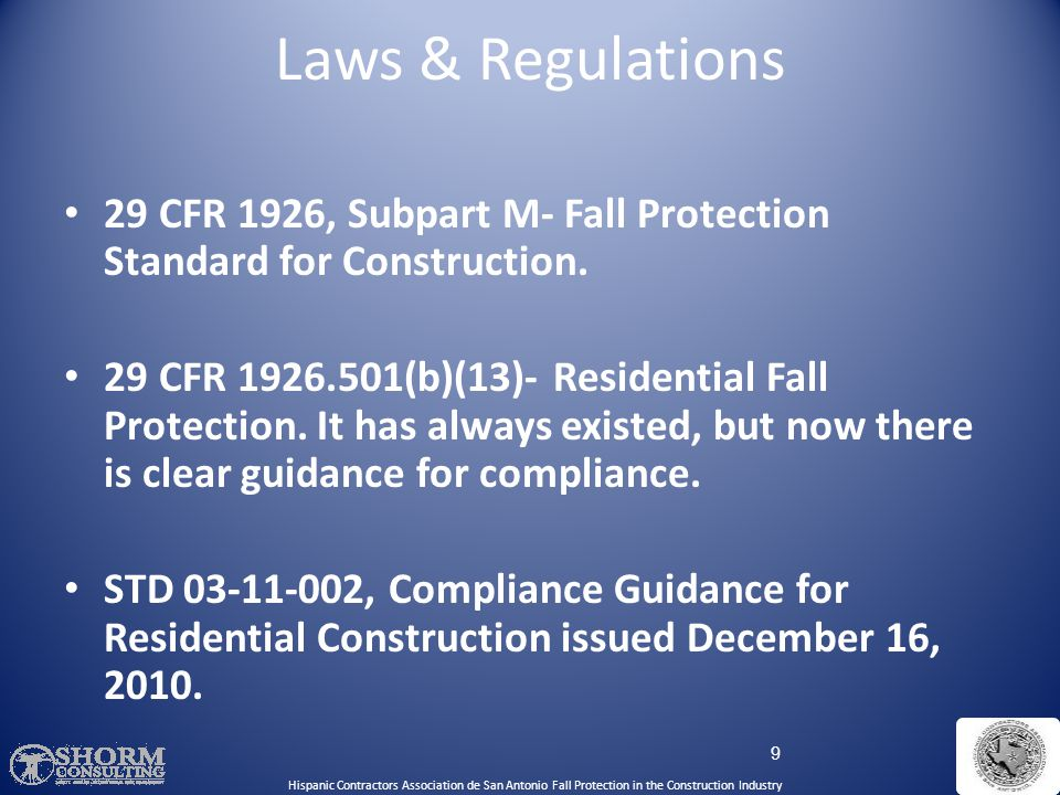 Laws & Regulations Hispanic Contractors Association de SA. Fall Protection SH-22298-11-60-F-48. English Curriculum.