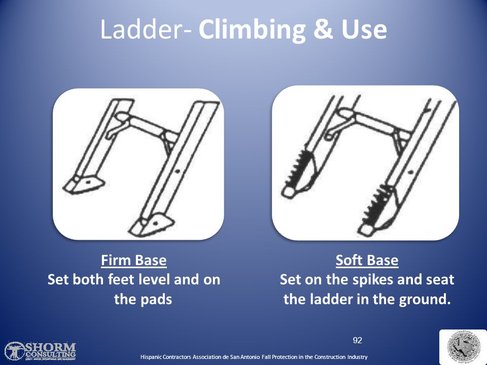 Ladder- Climbing & Use Firm Base Set both feet level and on the pads