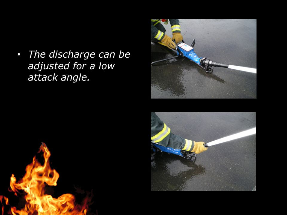 The discharge can be adjusted for a low attack angle.
