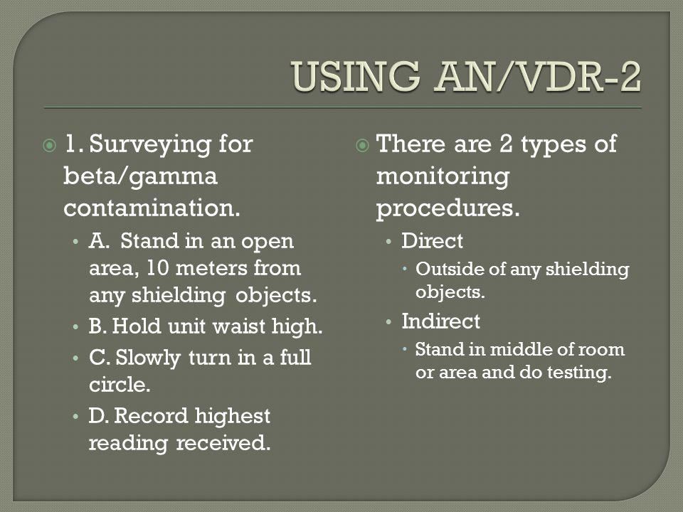 USING AN/VDR-2 1. Surveying for beta/gamma contamination.