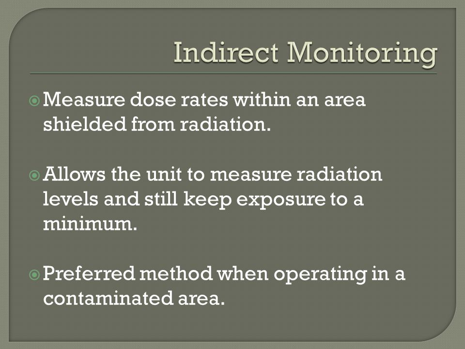 Indirect Monitoring Measure dose rates within an area shielded from radiation.