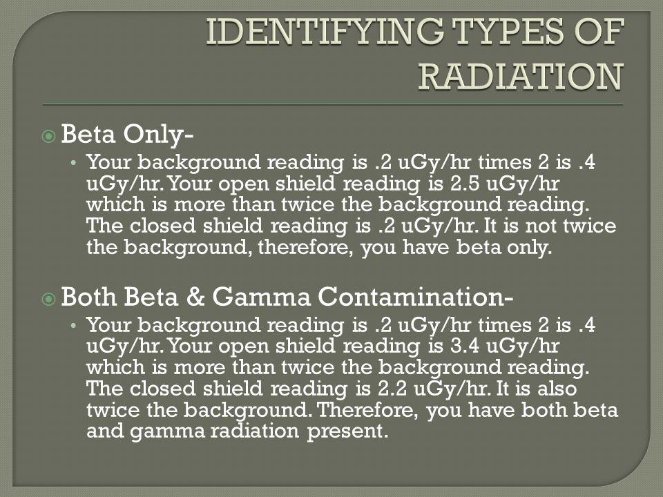 IDENTIFYING TYPES OF RADIATION