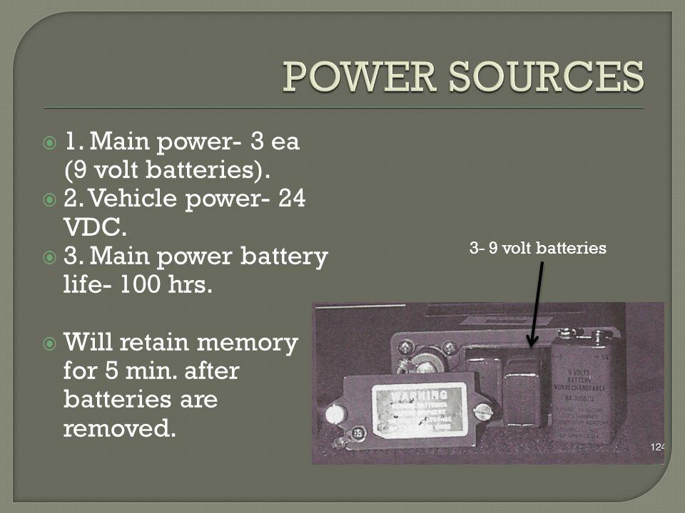 POWER SOURCES 1. Main power- 3 ea (9 volt batteries).