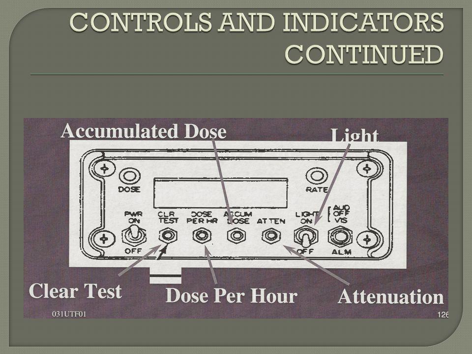 CONTROLS AND INDICATORS CONTINUED