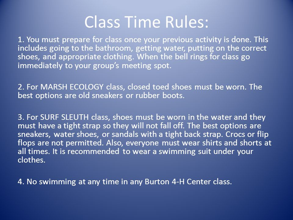 Class Time Rules: