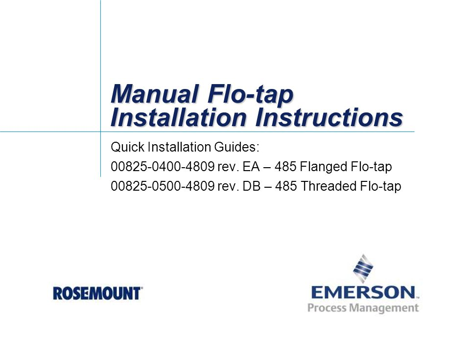 Manual Flo Tap Installation Instructions Ppt Video Online Download