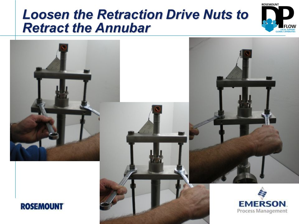 Loosen the Retraction Drive Nuts to Retract the Annubar