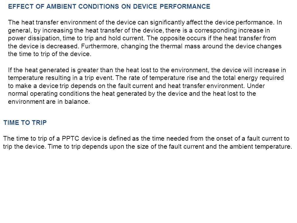 EFFECT OF AMBIENT CONDITIONS ON DEVICE PERFORMANCE