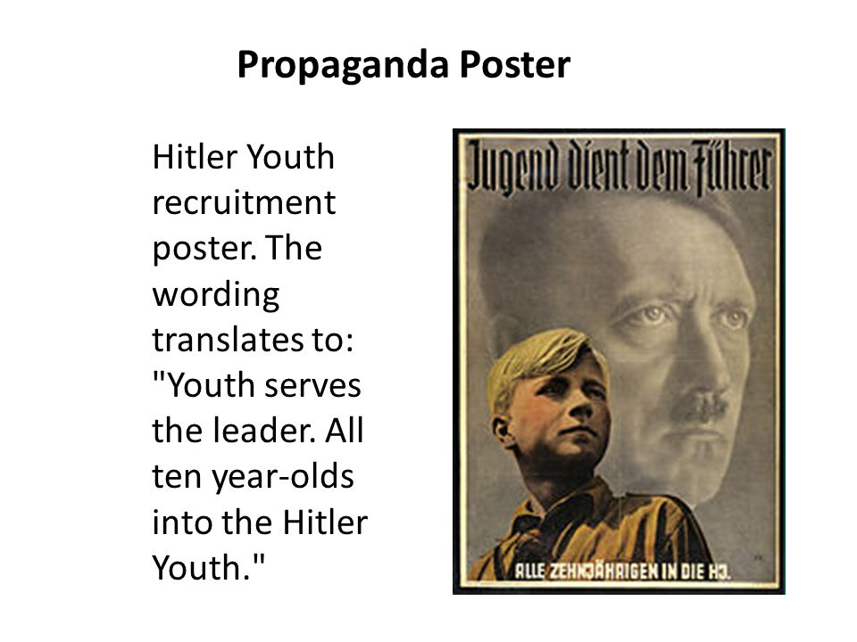 Propaganda Poster Hitler Youth recruitment poster.