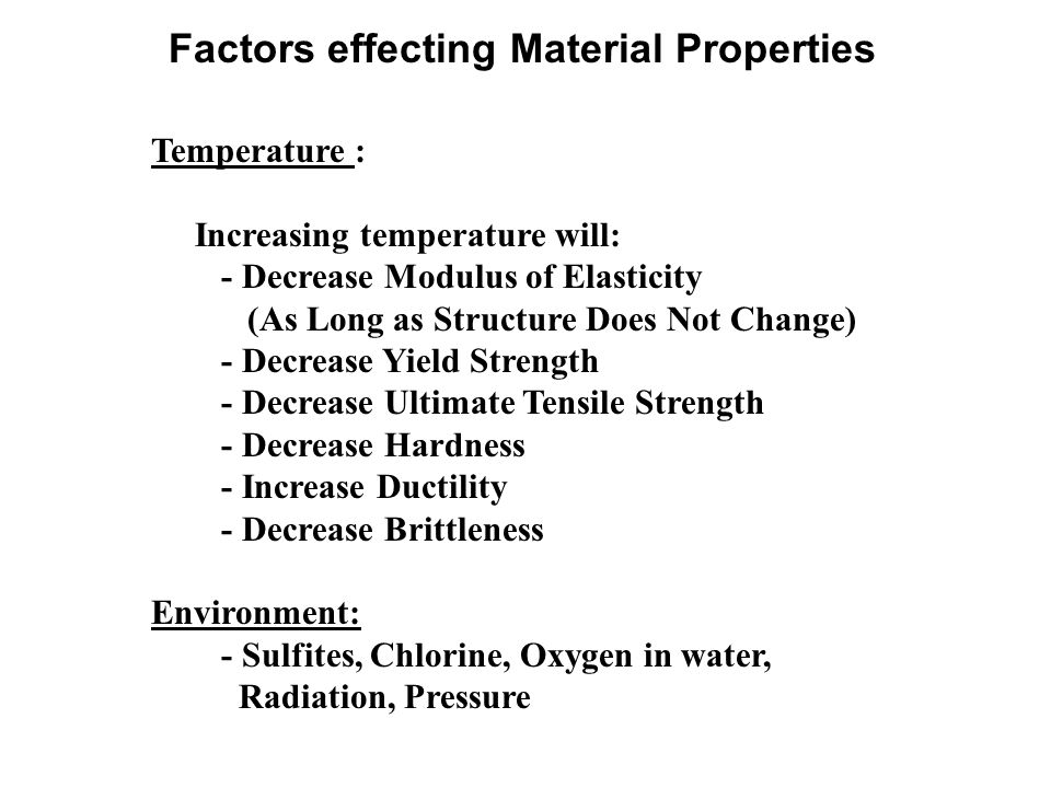 Factors effecting Material Properties