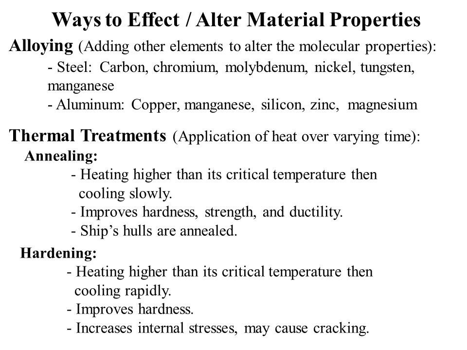 Ways to Effect / Alter Material Properties
