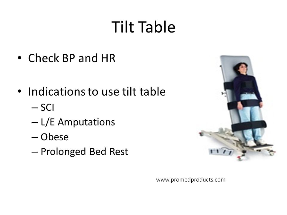 Tilt Table Check BP and HR Indications to use tilt table SCI