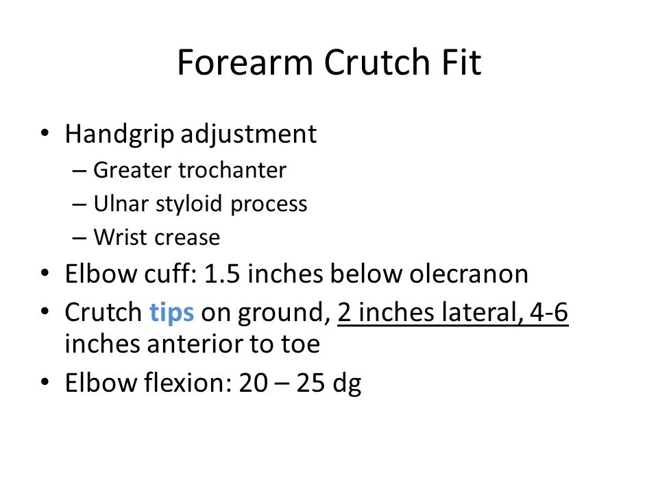 Forearm Crutch Fit Handgrip adjustment