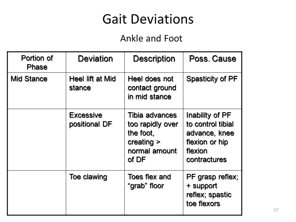 Gait Deviations Ankle and Foot